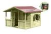 Großes Kinderspielhaus Lisa aus Holz mit Veranda von Gartenpirat® - 1