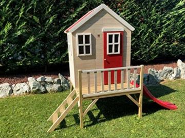 Kinderspielhaus auf Platform   Kinder Holz Spielhaus Gartenhaus mit Fenstern, Leiter, Rutsche, Volltür - 2