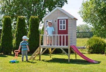 Kinderspielhaus auf Platform   Kinder Holz Spielhaus Gartenhaus mit Fenstern, Leiter, Rutsche, Volltür - 4