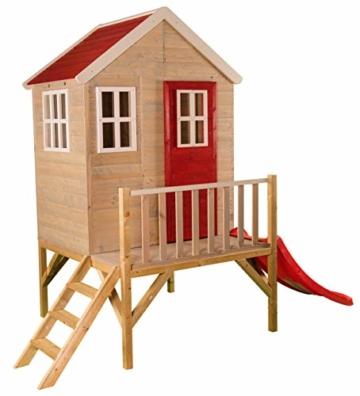 Kinderspielhaus auf Platform   Kinder Holz Spielhaus Gartenhaus mit Fenstern, Leiter, Rutsche, Volltür - 1