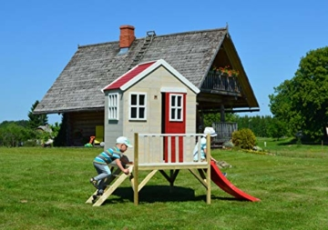 Kinderspielhaus auf Platform   Kinder Holz Spielhaus Gartenhaus mit Fenstern, Leiter, Rutsche, Volltür - 5