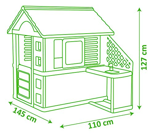 Smoby 810711 Pretty Spielhaus mit Küche, grau,grün,türkis ...