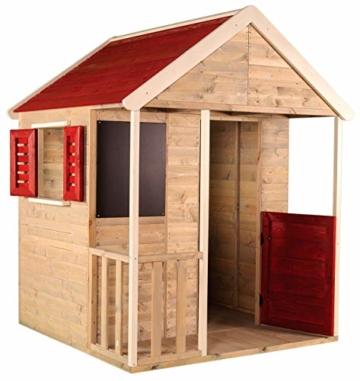 Wendi Toys Kinder Sommerhaus aus Holz | Garten Spielhaus öffnen mit Balkon, Spielzeug Regal, Fensterläden, Tafel - 2