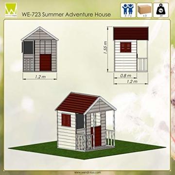 Wendi Toys Kinder Sommerhaus aus Holz | Garten Spielhaus öffnen mit Balkon, Spielzeug Regal, Fensterläden, Tafel - 5