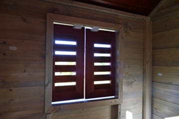 Wendi Toys Kinder Sommerhaus aus Holz | Garten Spielhaus öffnen mit Balkon, Spielzeug Regal, Fensterläden, Tafel - 6